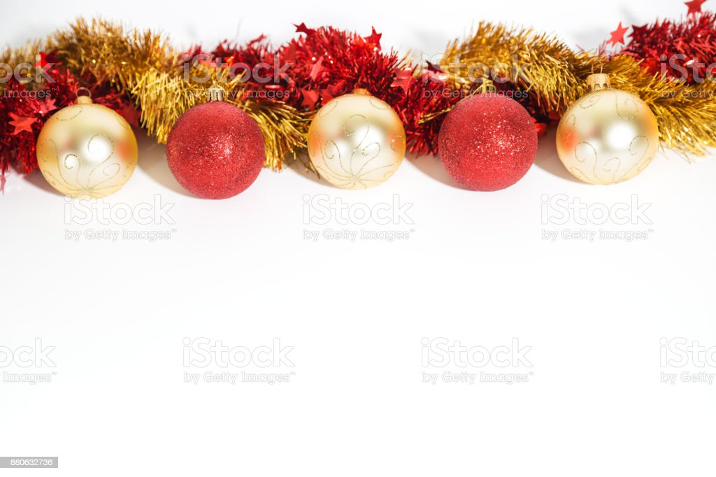 Christmas decorations red and golden stock photo