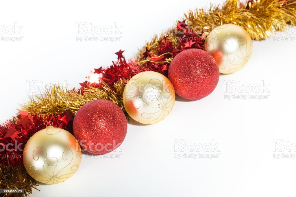 Christmas decorations red golden stock photo