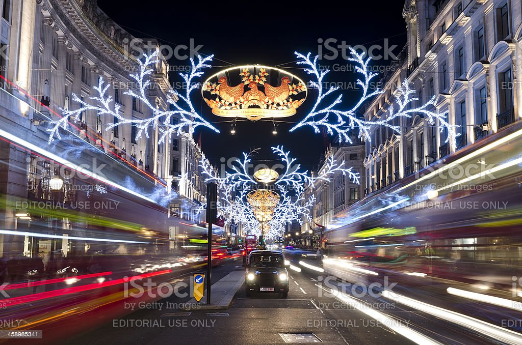 Christmas decorations, Regent Street, central London stock photo