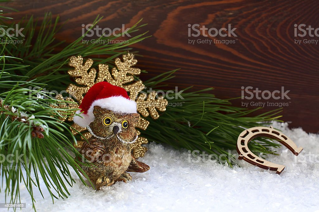 Christmas Decorations With An Owl And A Horseshoe Stock Photo Download Image Now Istock