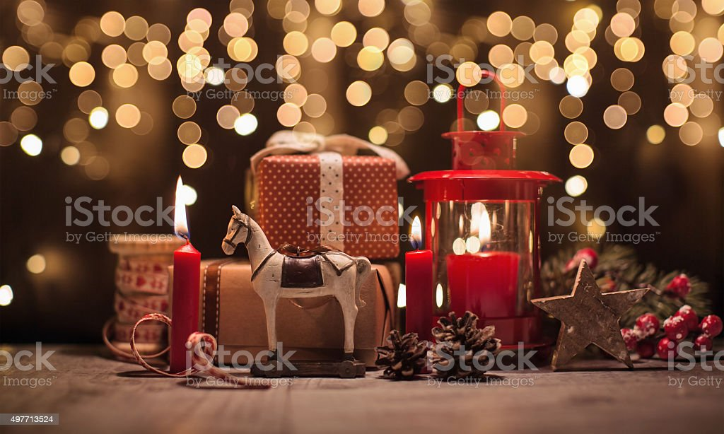 Christmas decorations with gifts stock photo