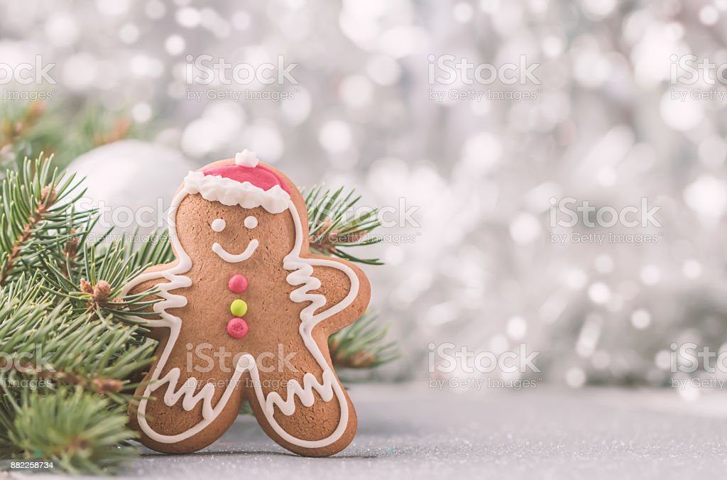 Christmas Decorations with Gingerbread man stock photo