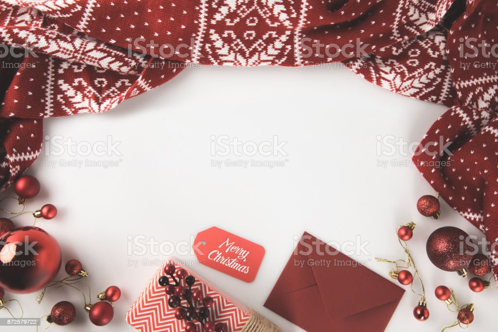 christmas decorations with red scarf stock photo