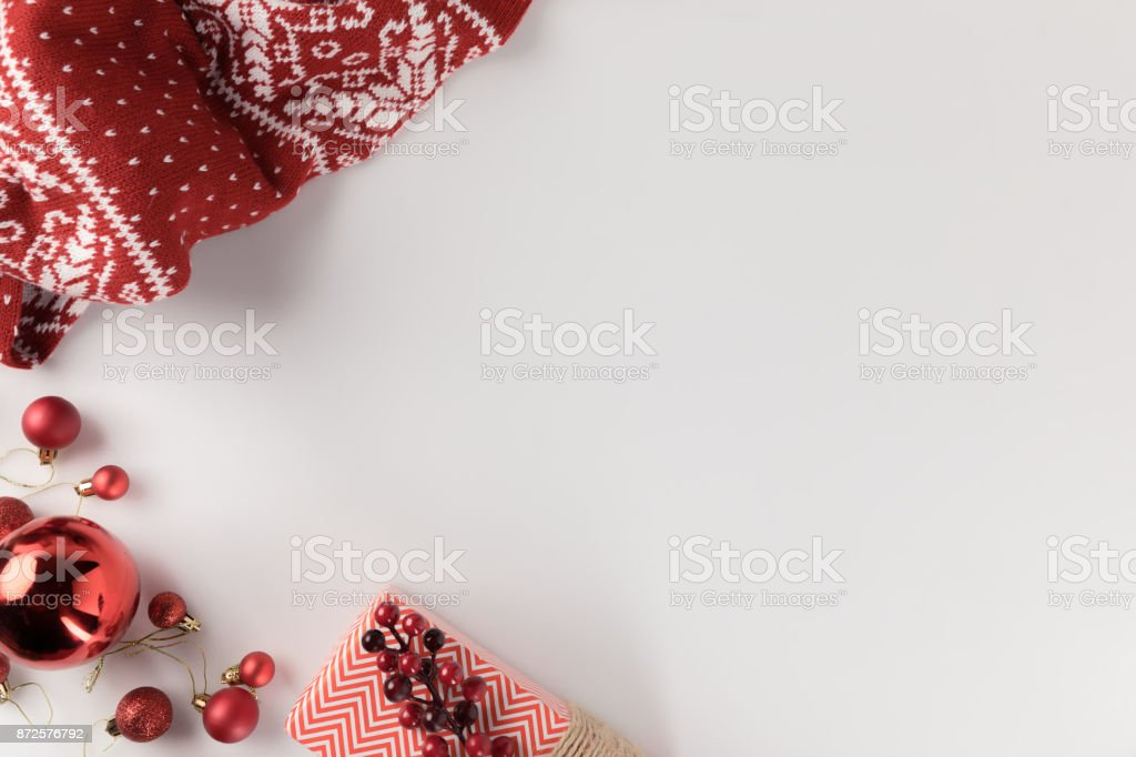 christmas decorations with winter scarf stock photo