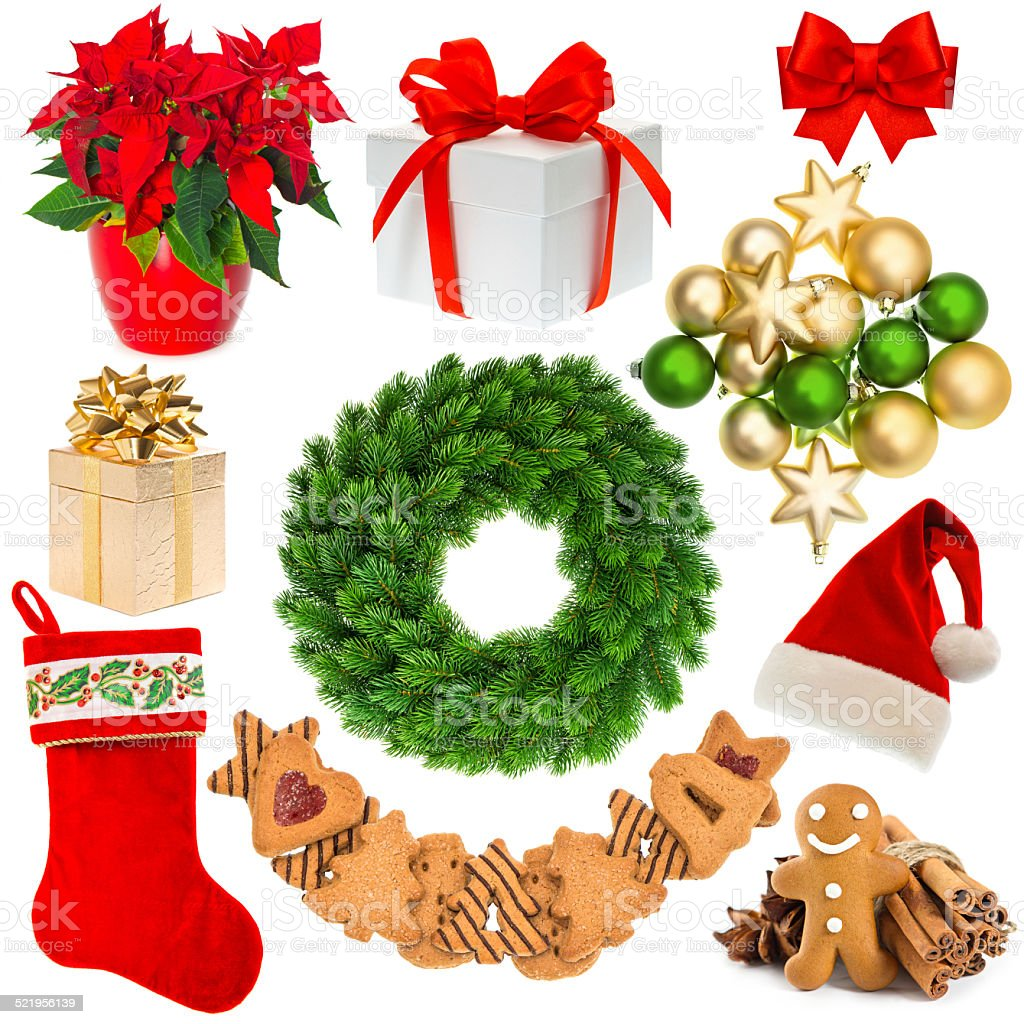 christmas decorations wreath, hat, red sock, gift box, baubles, stock photo