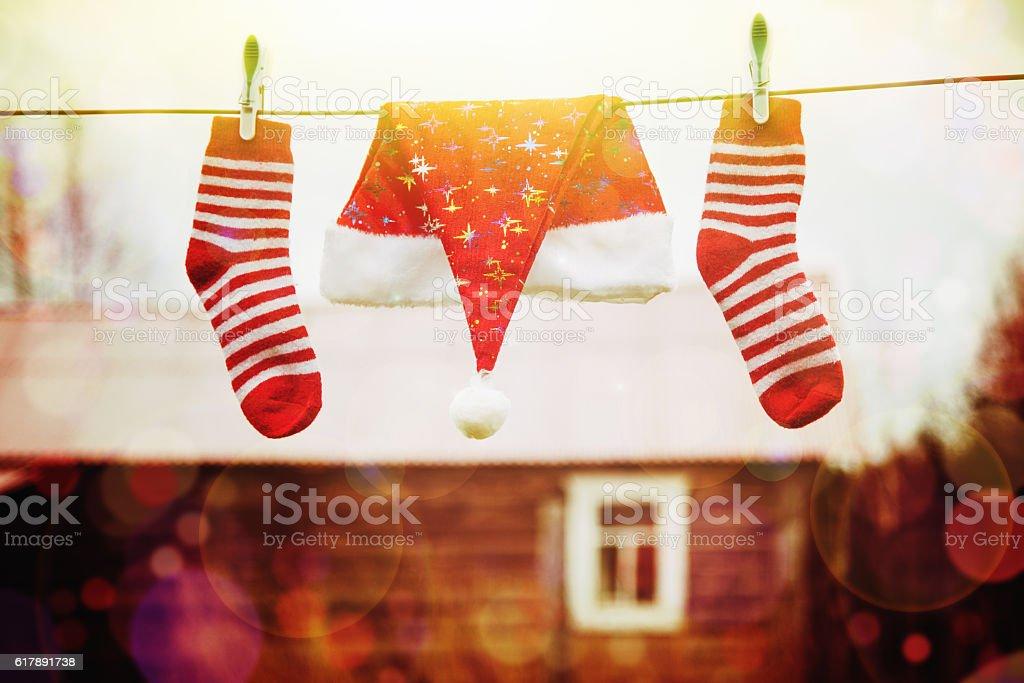 Christmas decorations. Xmas holiday concept stock photo