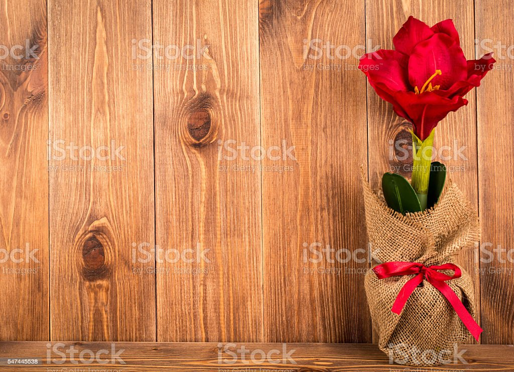 Christmas decorative artificial red amariyllis flower on the wooden background. stock photo