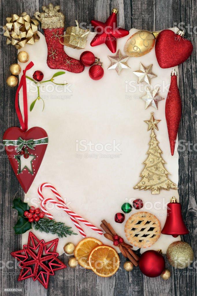 Christmas Decorative Background Border stock photo