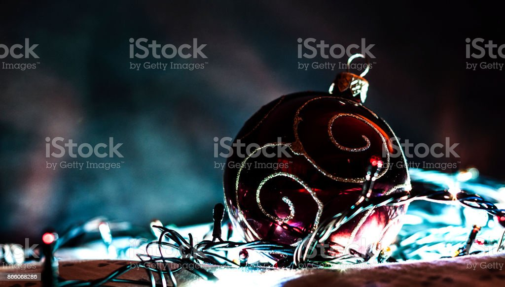 Christmas decorative bright toy with a garland stock photo
