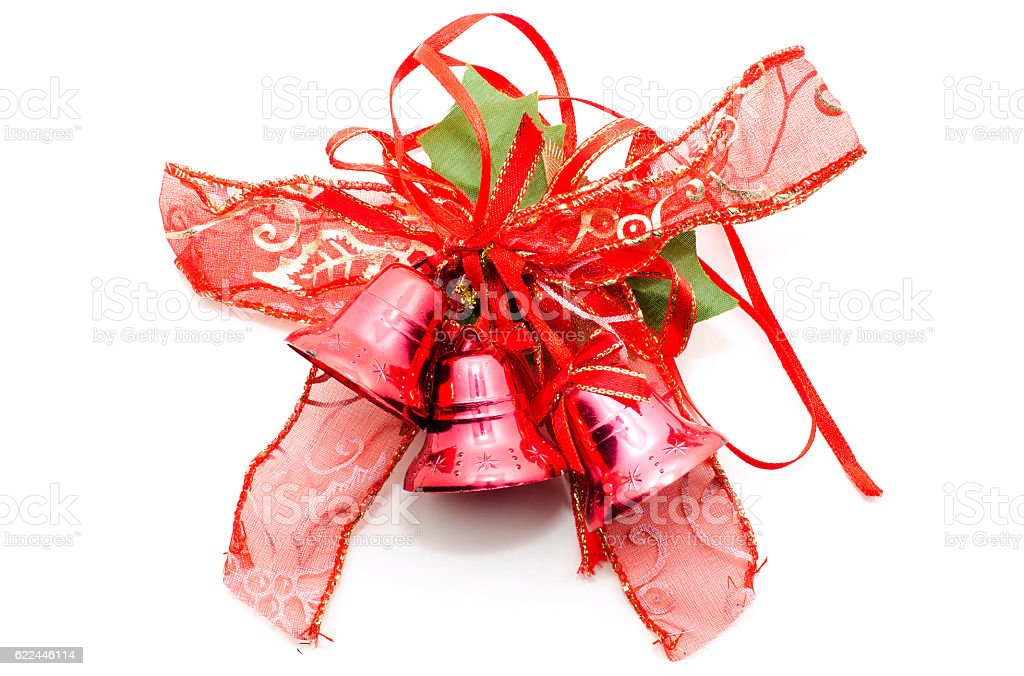Christmas decorative red bow with christmas bells on white. – Foto