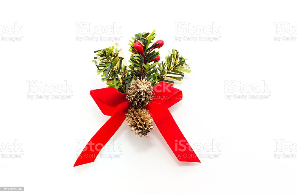 Christmas decorative red bow with christmas pines cones. stock photo