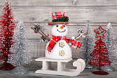 Christmas decorative snowman on white rustic wooden background. The font is free for commercial use.