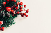 istock Christmas decorative wreath of holly, ivy, mistletoe, cedar and leyland leaf sprigs with red berries over white background. 1072564922