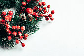 istock Christmas decorative wreath of holly, ivy, mistletoe, cedar and leyland leaf sprigs with red berries over white background. 1083334506