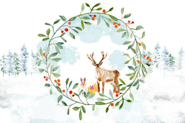 weihnachten deeer und kaninchen mit einem kranz im wald - waldmalerei stock-fotos und bilder