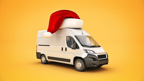 Christmas delivery van. 3d rendering