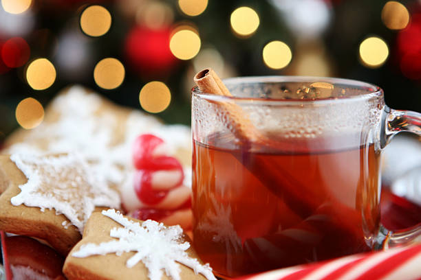 christmas dessert christmas dessert hot apple cider stock pictures, royalty-free photos & images