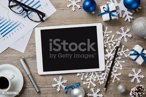 istock Christmas digital background 613690982