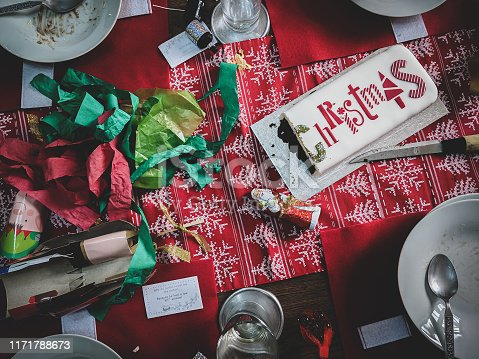 istock Christmas dinner after the party. Messy table. Dark vintage. 1171788673