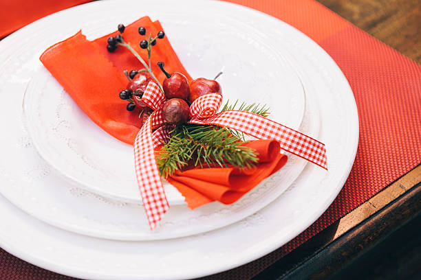 Christmas Dinner - Decorative Tablecloth and Flatware stock photo