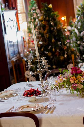 크리스마스 디너 설정 0명에 대한 스톡 사진 및 기타 이미지