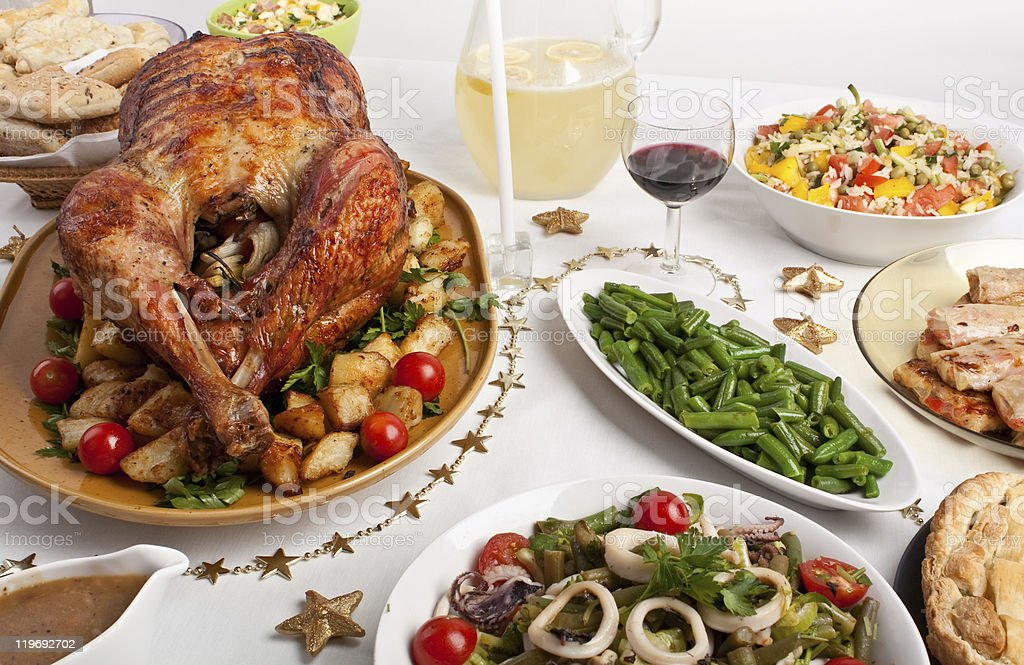 christmas dinner table stock photo