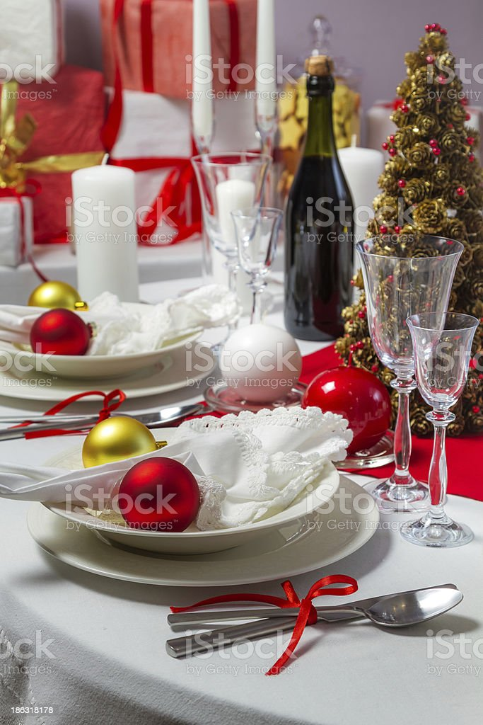 Christmas dinner was ready to serve on royalty-free stock photo