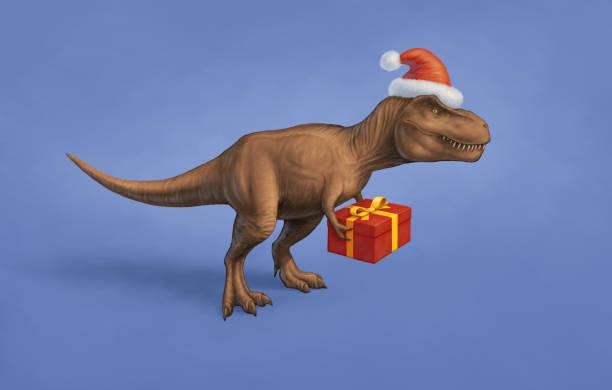 weihnachten-dinosaurier - dinosaurier illustration stock-fotos und bilder