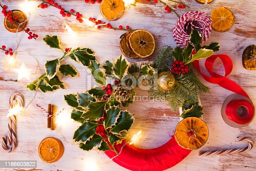 Christmas diy project, making a wreath for christmas, flatlay , top view.