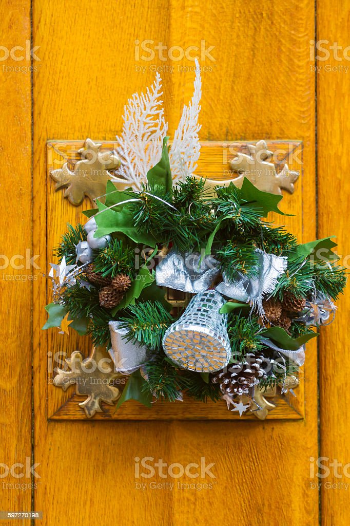 Christmas door decoration royalty-free stock photo