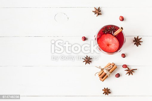 istock Christmas drink. Traditional mulled wine with spices. Flat lay 614746236
