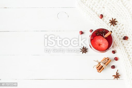 istock Christmas drink. Traditional mulled wine with spices. Flat lay 617372248