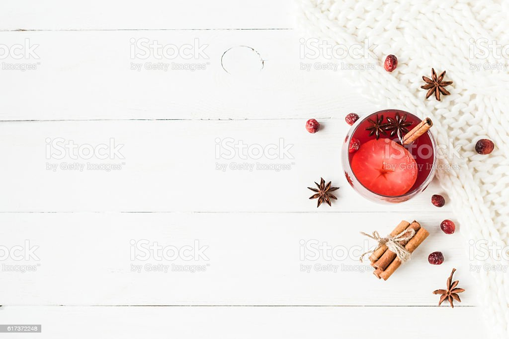 Christmas drink. Traditional mulled wine with spices. Flat lay stock photo
