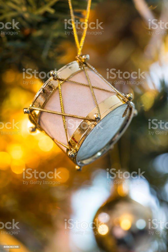 Christmas drum shaped ornament stock photo