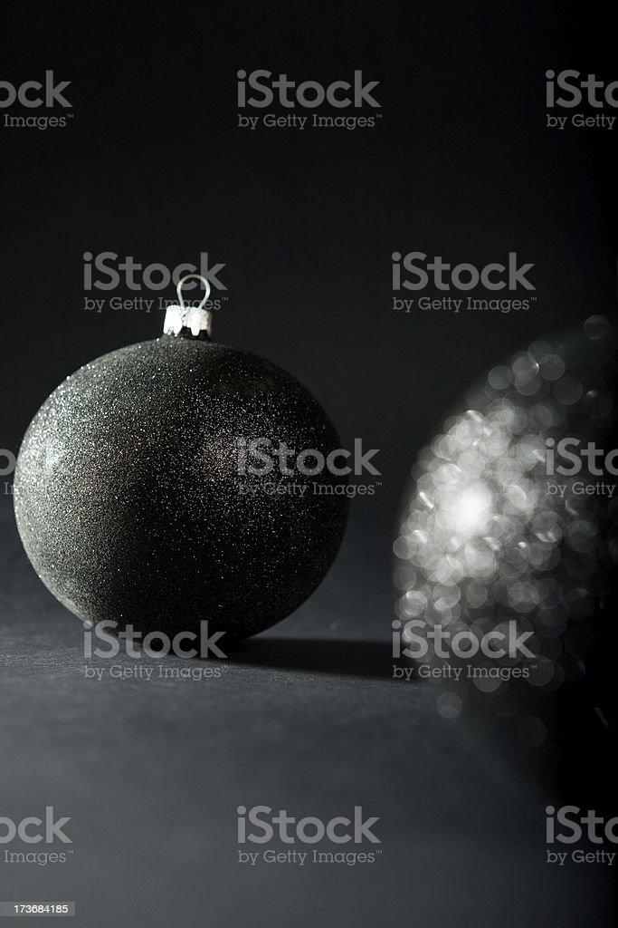 christmas elegant black baubles stock photo