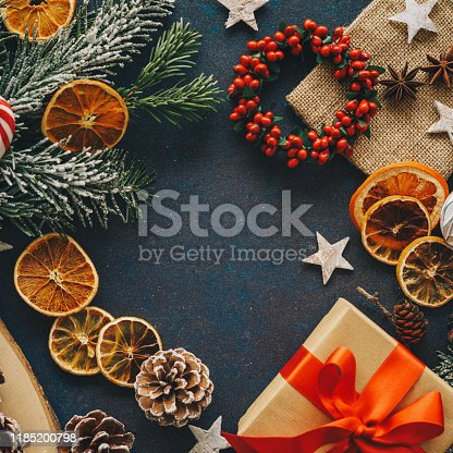 Christmas decorations and elements on dark blue background with copy space