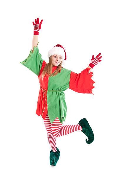 christmas elf tanz - elfenkostüm damen stock-fotos und bilder