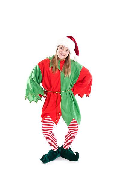 christmas elf volle länge - elfenkostüm damen stock-fotos und bilder