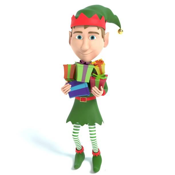 elf holding weihnachtsgeschenke - cartoon kostüme stock-fotos und bilder