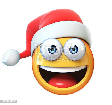istock Christmas Emoji isolated on white background, emoticon with Santa's hat 3d rendering 868646842