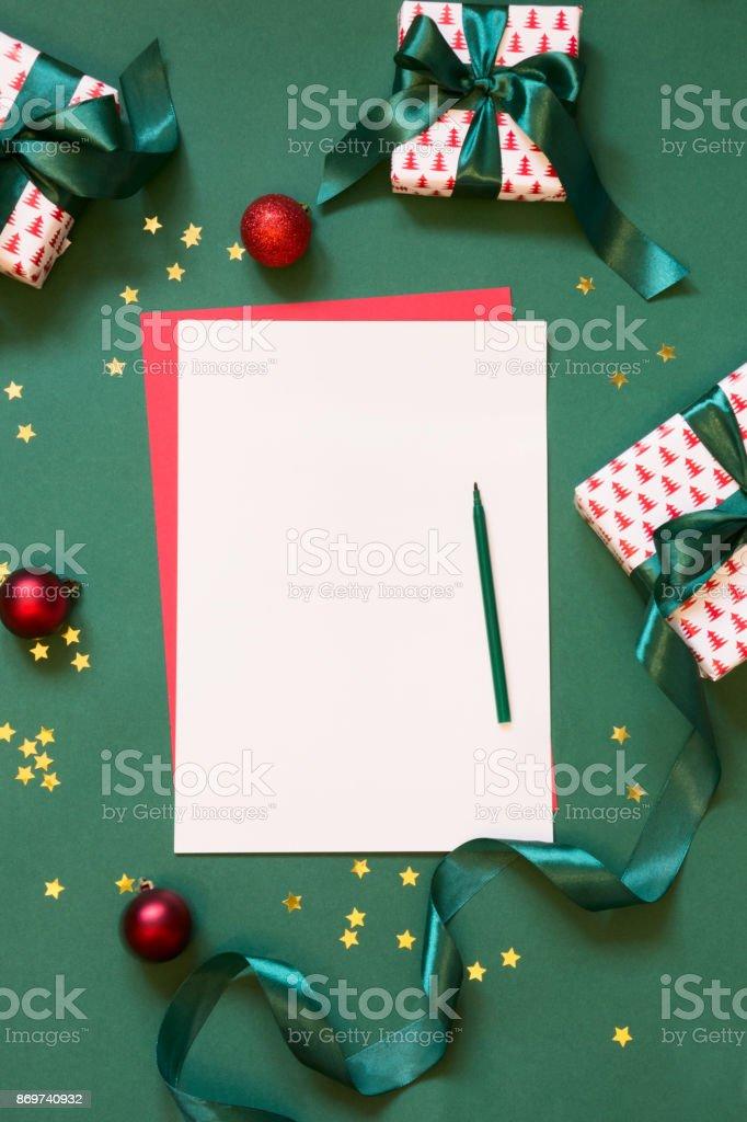 Fotografía de Navidad Vacía En Blanco Para Carta A Santa O Su Lista ...