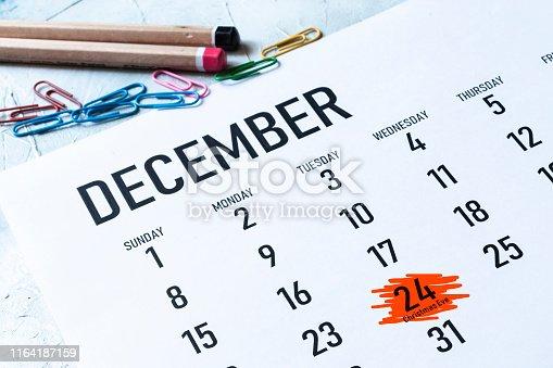istock christmas eve 2019 marked on calendar 1164187159
