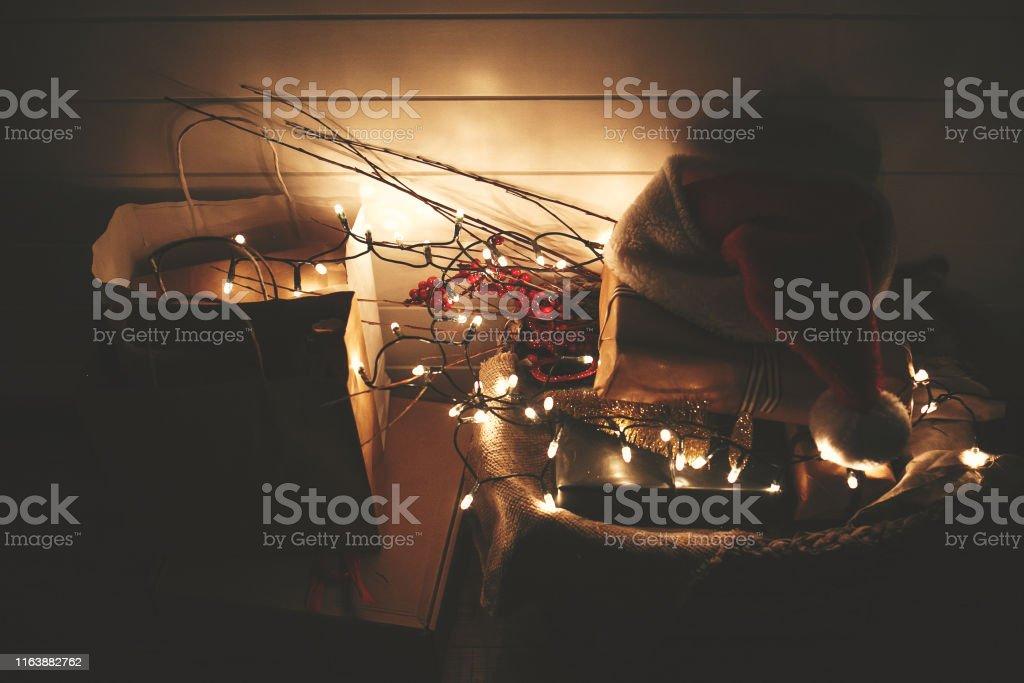 Christmas eve atmosphere. Merry Christmas. Happy Holidays. Stylish...