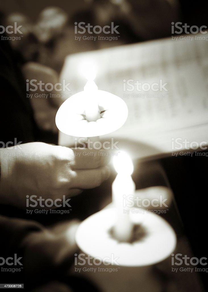 Christmas Eve Candlelight stock photo