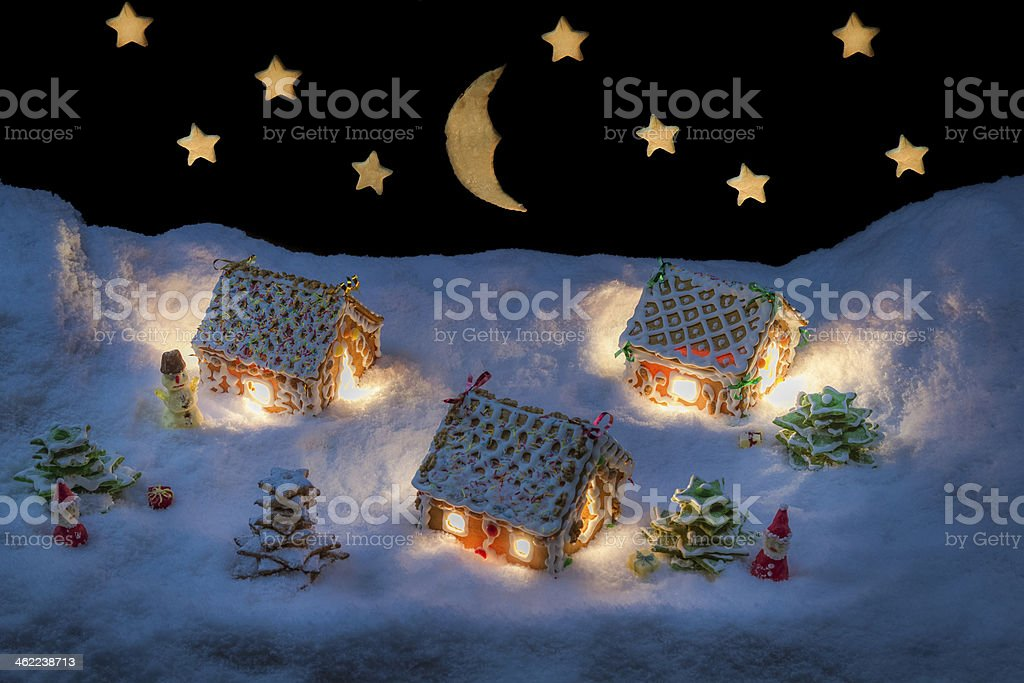 Christmas eve in the gingerbread village stock photo