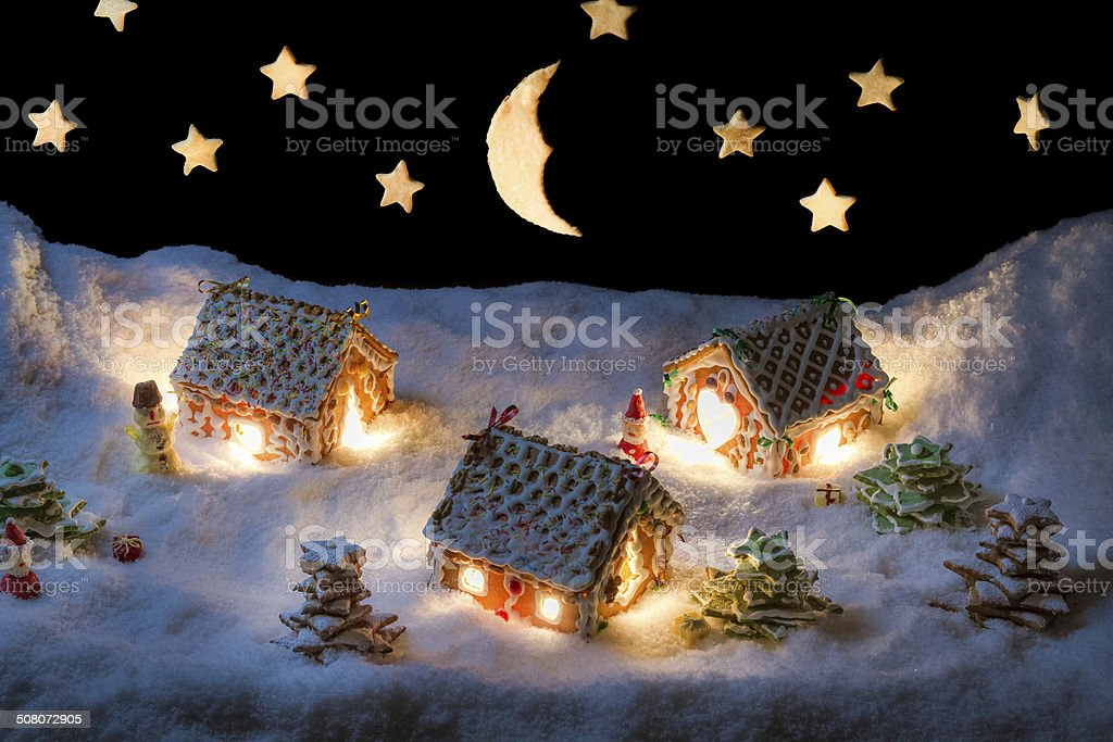 Christmas eve in the honey-cacke village stock photo