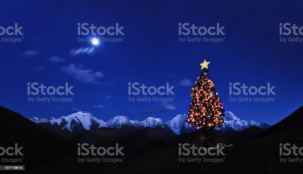 Christmas Eve with moon royalty-free stock photo