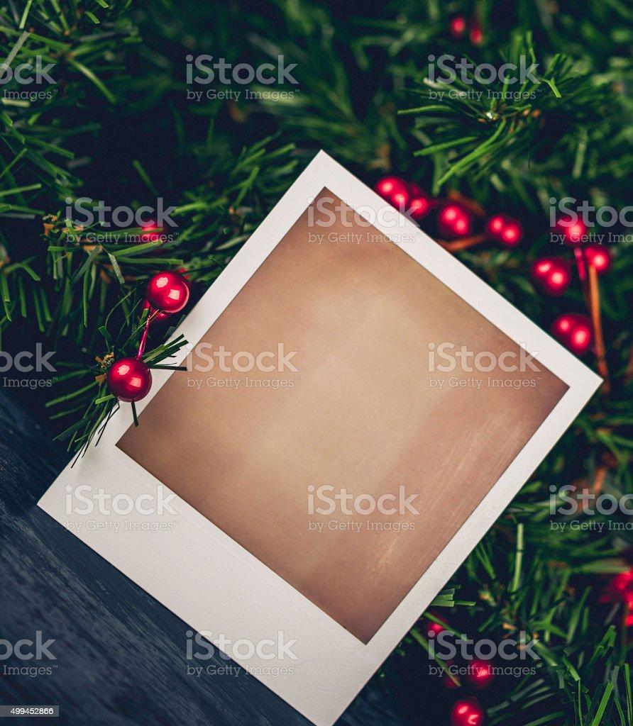 Weihnachten Evergreen Garland Mit Leeren Bilderrahmen Für ...