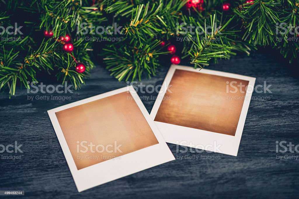 Christmas Evergreen Garland With Blank Photo Frames For Christmas