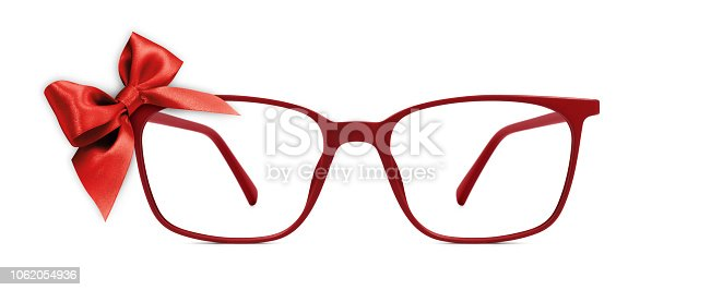 670414478 istock photo christmas eyeglasses gift card, red spectacles and red ribbon bow, isolated on white background 1062054936